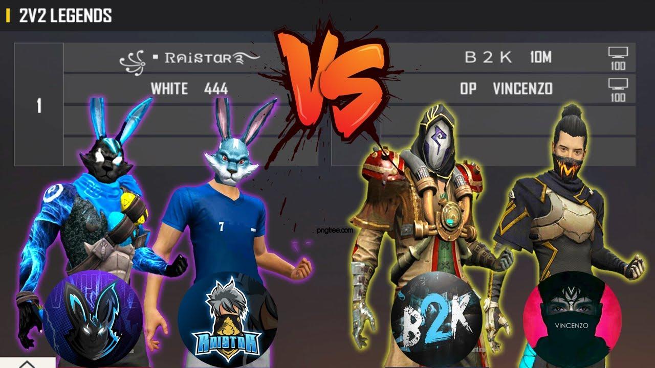 WHITE 444 RAISTAR VS B2K VINCENZO | 2V2 LEGENDS VS KINGS - DANGEROUS ROOM - تحدي اساطير اللعبة