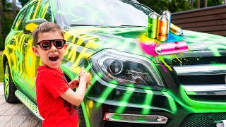 Artem ride toy new quad bike and painting Car for Mom surprise