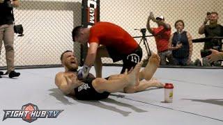 Watch Conor McGregor's CRAZY INTENSE AB Workout for Nate Diaz rematch!