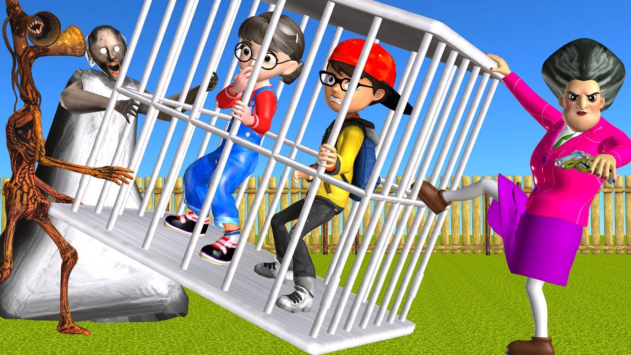 Scary Teacher 3D Siren Head and Granny Troll Nick and Tani in Cage - Miss T Rescue Funny Animation