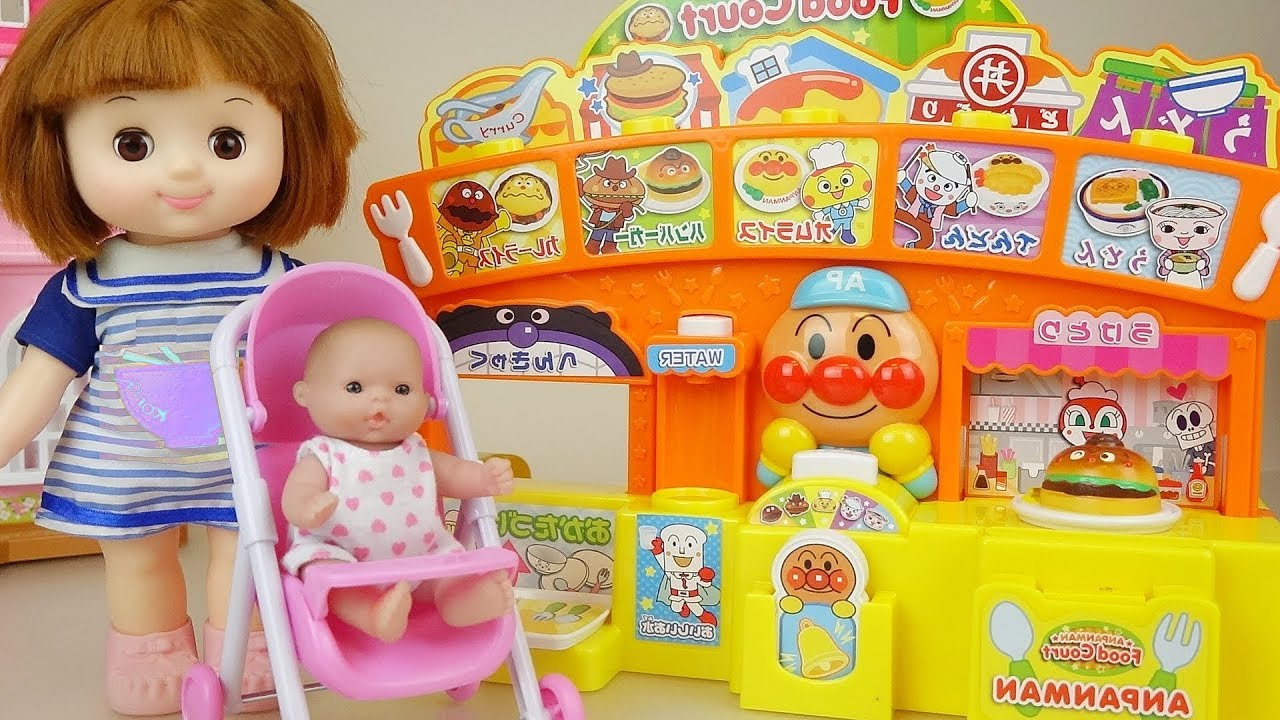 Baby doll kitchen Anpanman restraunt cooking play baby Doli house