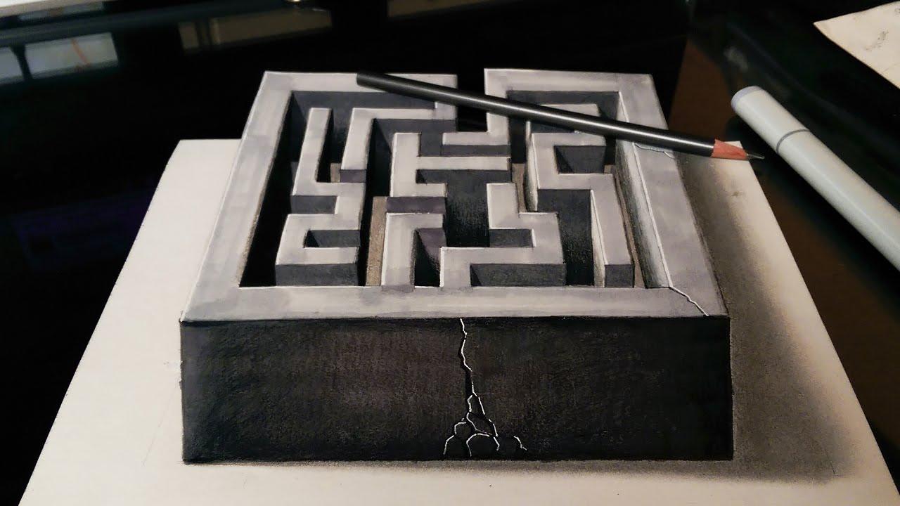maze drawing 3d illusion optical