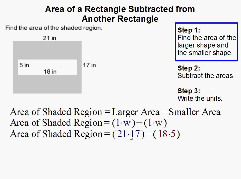 How to Find the Area of a Rectangle When Subtracted from Another – Find the Area of the Shaded Region Worksheet