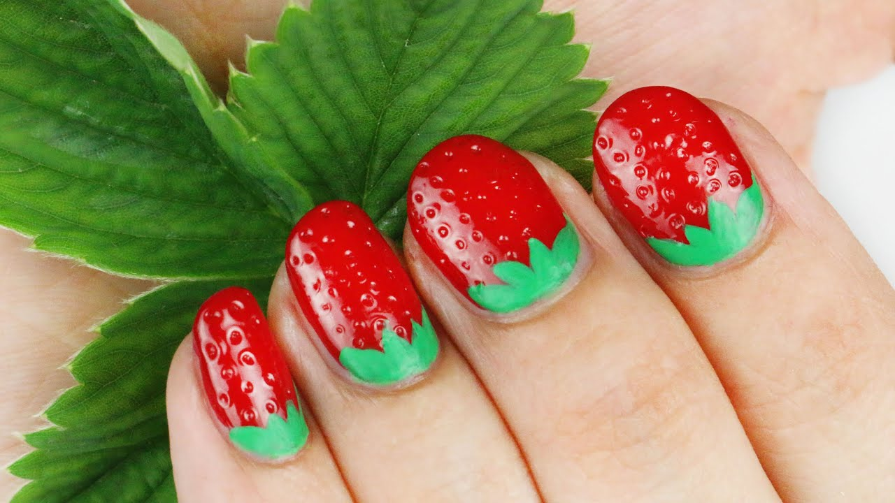 Art Designs: 3D Strawberry Nail Art Tutorial