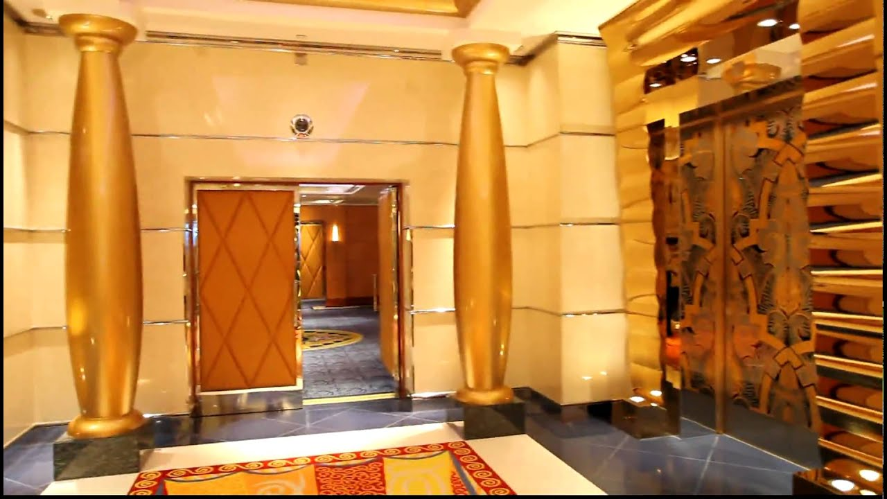 Burj al Arab Dubai :Everything is Gold ! The Elevators at ... Burj Al Arab Elevator Inside
