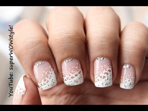 superwowstyle dainty amp elegant lace french nails white