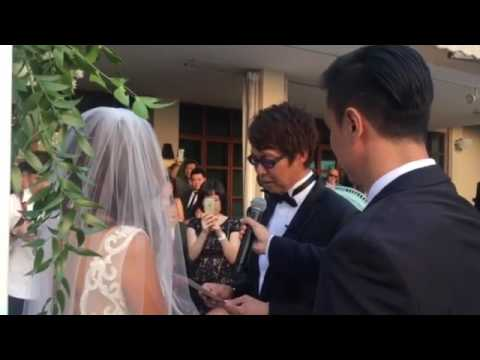 Radio DJs Glenn Ong reading his marriage vows to Jean Danker