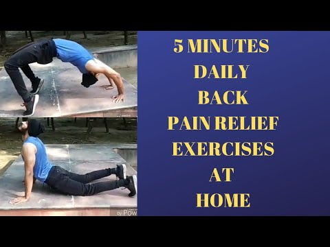 5 minutes daily back pain relief exercises at home in