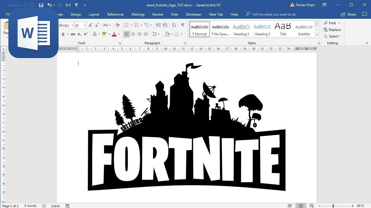 how to create fortnite logo in microsoft word tutorial - fortnite silhouette clipart