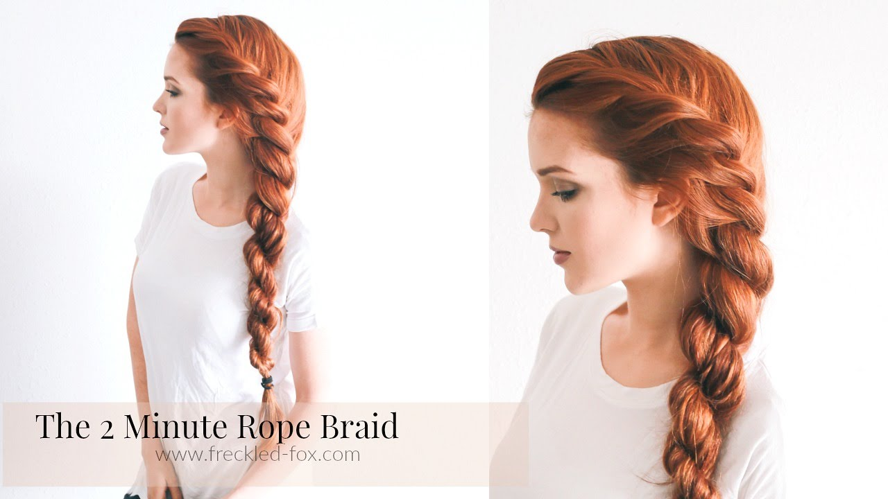 THE 2 MINUTE ROPE BRAID HAIRSTYLE HAIRSTYLE | THE FRECKLED FOX - YouTube