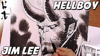 Jim Lee drawing Hellboy
