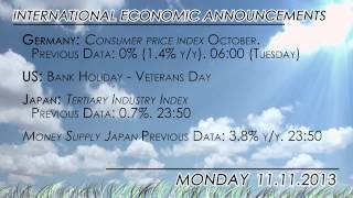 Light agenda ahead with Bank Holidays in US (Veterans Day), Canada and France