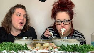 Don't Wipe Your Mouth Challenge! Seafood & Alfredo! With Jen Is Always Hungry! (Not For Kids) 💋