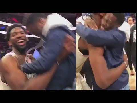 Joel Embiid Picks Up Kevin Hart Like A Baby After Sixers Eliminate Heat (VIDEO)
