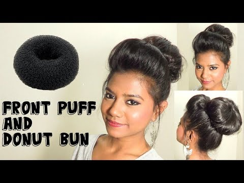 Front Poof and Donut Bun Hair Tutorial | Medium Long Hairstyles | Quick & Easy Hairstyle