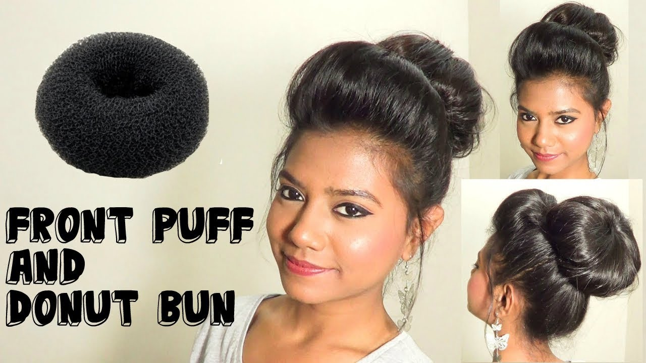 Hairstyles With Donut Bun: Front Poof And Donut Bun Hair Tutorial