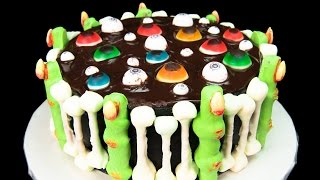 Floating Eye Balls Halloween Cake with Skeleton Bones and Bloody Witch Fingers
