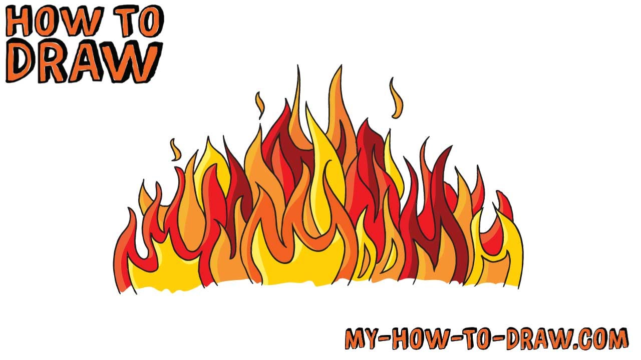 how to draw a fire easy step by step drawing tutorial youtube