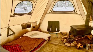 COLORADO SNOWSTORM WOOD STΟVE HOT TENT, LIVING OFF-GRID FOR 6 YEARS FULL-TIME WINTER CAMPING