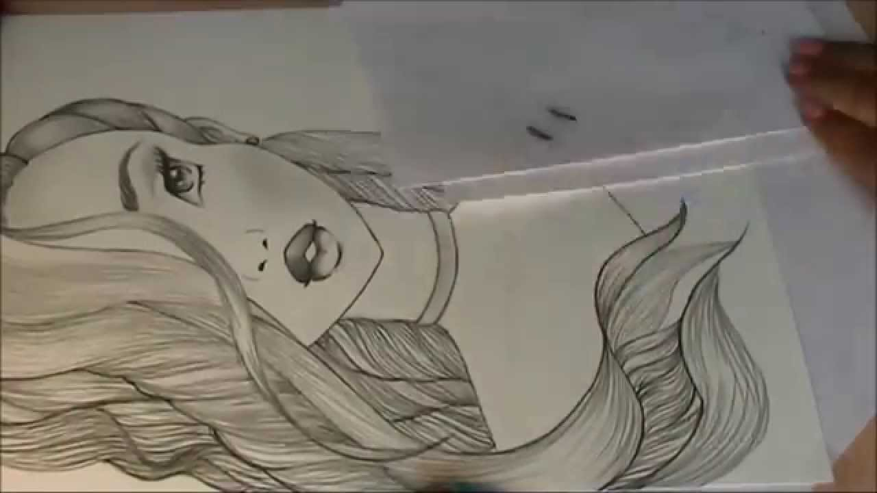speed drawing long hair girl