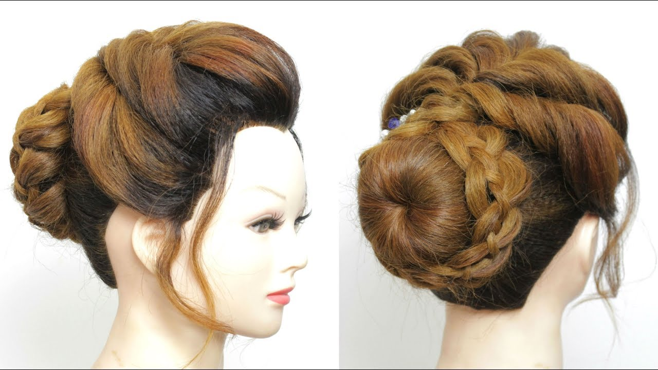 new bun hairstyle for girls. wedding prom updo tutorial