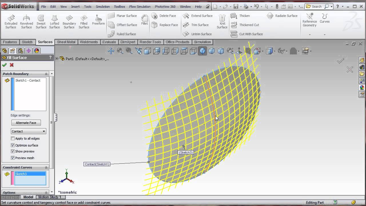 Solidworks Filled Surface Ellipse Tank Cap Youtube