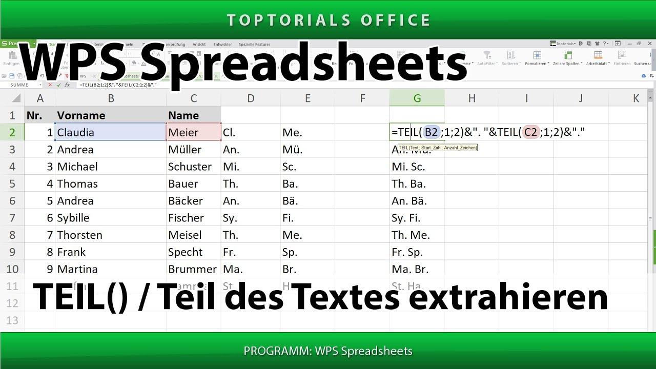 Teil des Textes aus der Zelle auslesen (WPS Spreadsheets) - YouTube