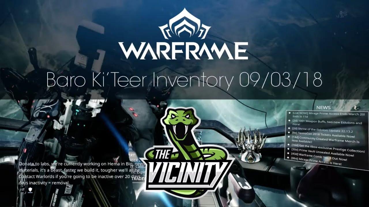 Baro Ki'Teer Warframe Location & Inventory 09/03/18 - Xbox One