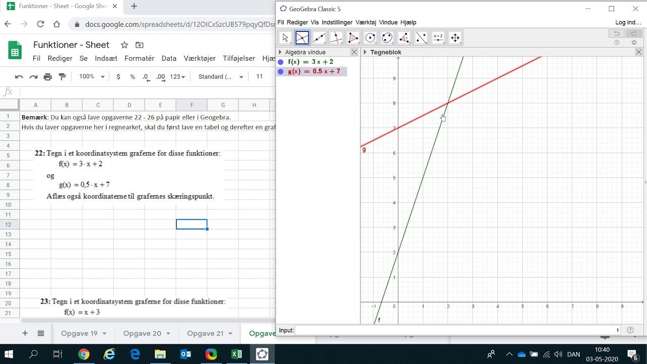 Funktioner, aflæs skæringspunkt i Geogebra, opgave 22