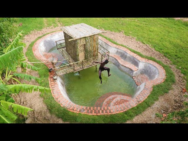 Build Swimming Pool Around Bamboo House In forest
