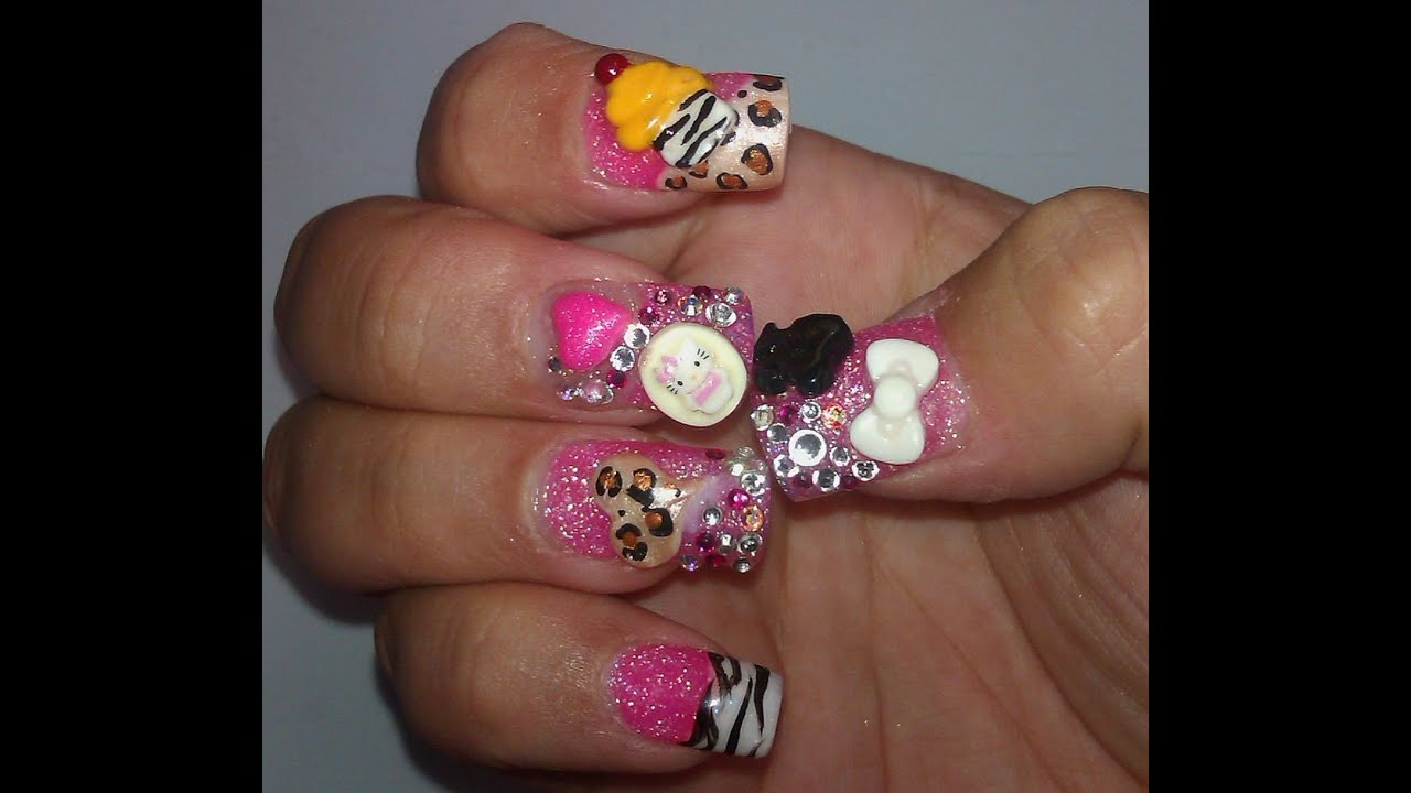3D Nail Art: Hello Kitty, Cupcake & Cheetah heart - YouTube