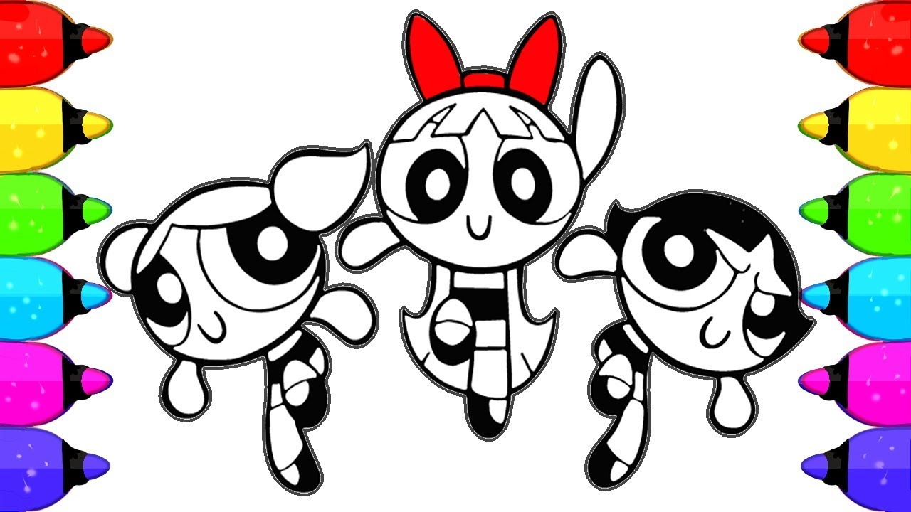 Coloring Powerpuff Girls Coloring Book Pages | How to Draw and Color ...