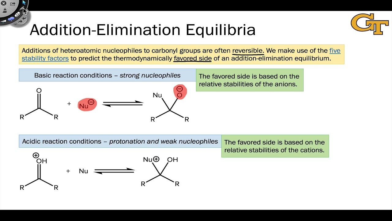 08 03 Addition Elimination Equilibria Youtube What is addition elimination reactions