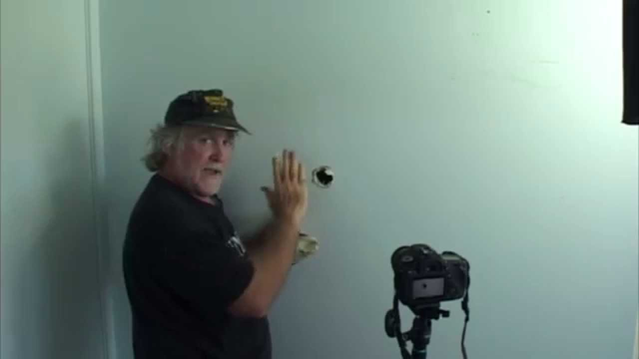 How to patch a hole from door knob being pushed through wall. Using ...