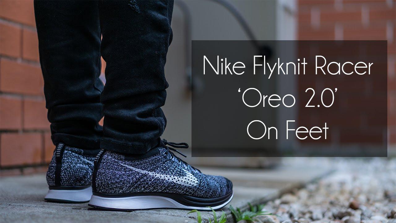 12a2a13b913937 Nike Flyknit Racer  Oreo 2.0  On Feet - YouTube
