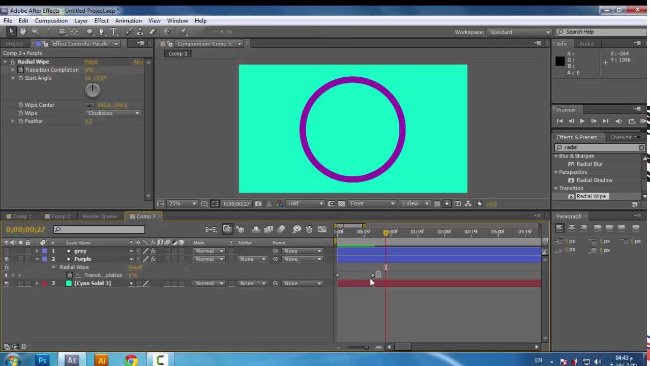 حركة الباي تشارت او النسبة المئوية -After effect - Motion Graphics