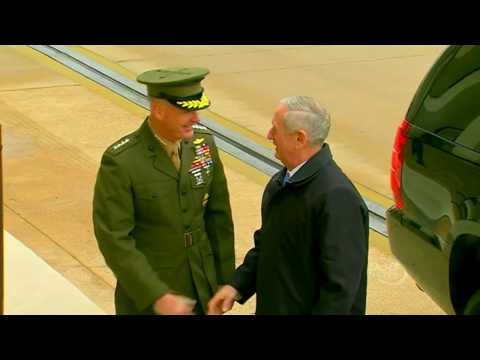 James 'Mad Dog' Mattis is greeted at the Pentagon