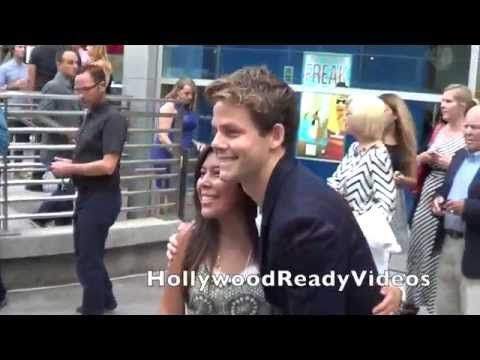 Lachlan Buchanan arrives at the Behaving Badly premiere in Hollywood