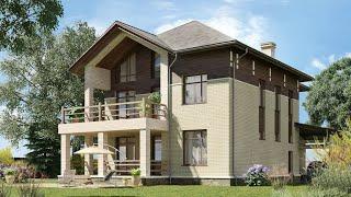 Проект дома в современном стиле из кирпича. Дом с сауной, террасой и балконом. Ремстройсервис KR-345