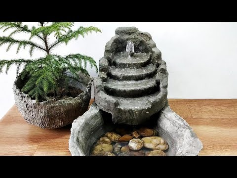 How to make amazing cemented waterfall fountain water fountain