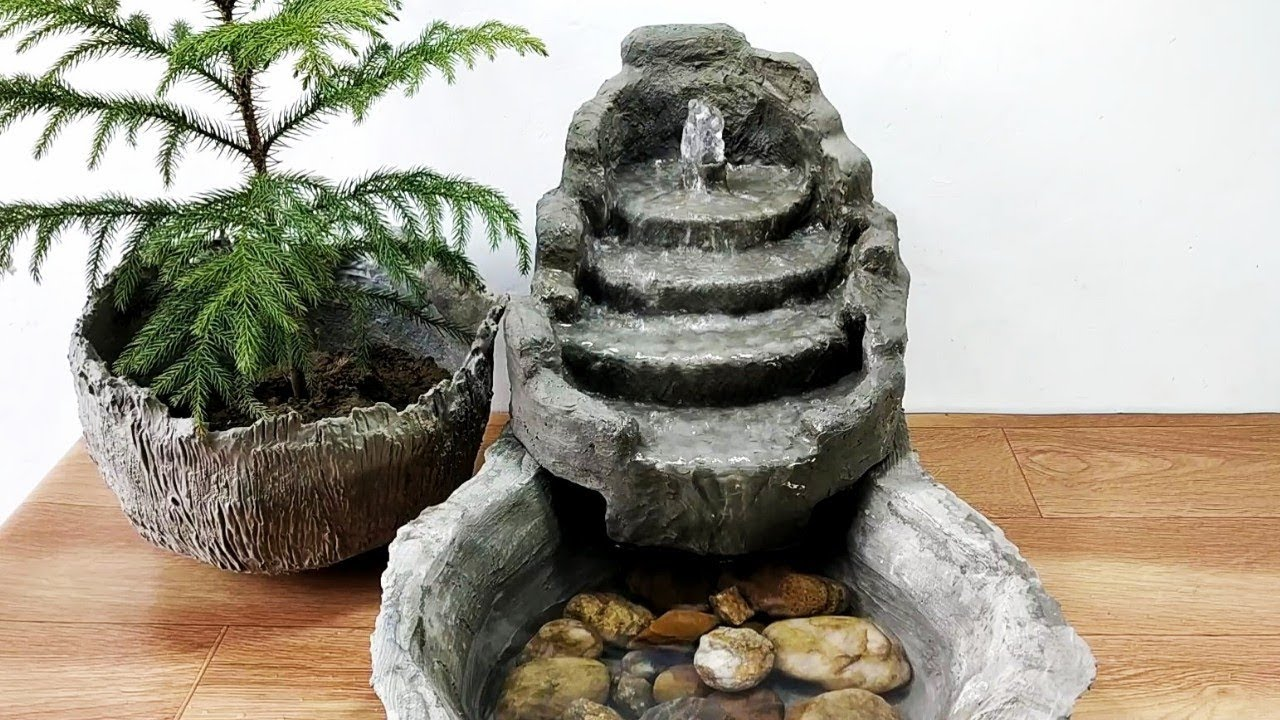 How To Make Amazing Cemented Waterfall Fountain Water