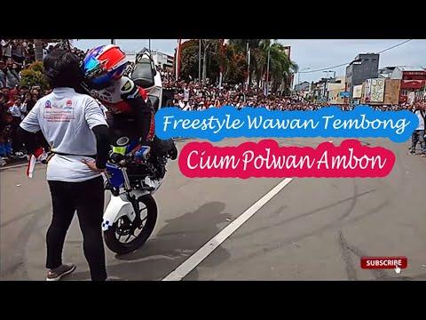 WAWAN TEMBONG FREESTYLE CIUM POLWAN  KOTA AMBON (FULL VIDEO)