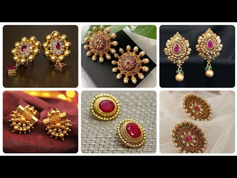 Latest 22k Gold stud Earrings Gold And Ruby Stud Ideas