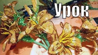 Плетение из бисера для начинающих мастер класс(Мастер класс по плетению из бисера http://biser-beads.ru/a/videouroki/. Плетение своими руками из бисера цветов лилии на..., 2014-03-02T15:38:35.000Z)