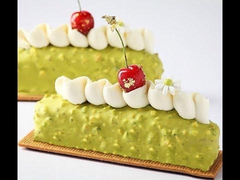 Pistachio Financier cherry gellan cake  | Opalys whipped ganache |
