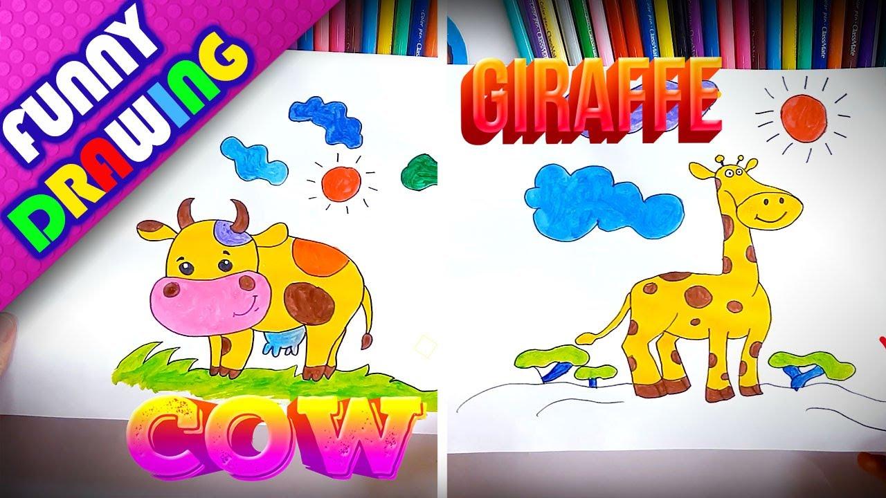 DIY - How to draw a Cow and Giraffe easy - Dạy bé vẽ và tô màu