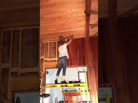 Removing tongue and groove pine paneling