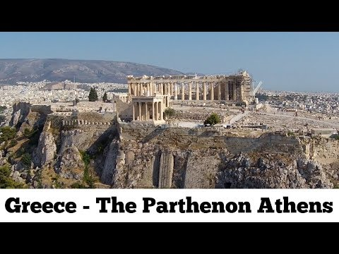 Parthenon Athens Greece temple on the Athenian Acropolis Παρθενώνας Drone Aerial Video : Greece