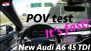 Audi A6 S line 2019 - POV test drive by JR in 4K (Croatian freeway)