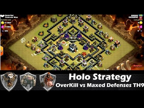 HoLo Strategy OVERKILLS a MAXED defenses TH9 with Loonion | clan wars | clash of clans HD